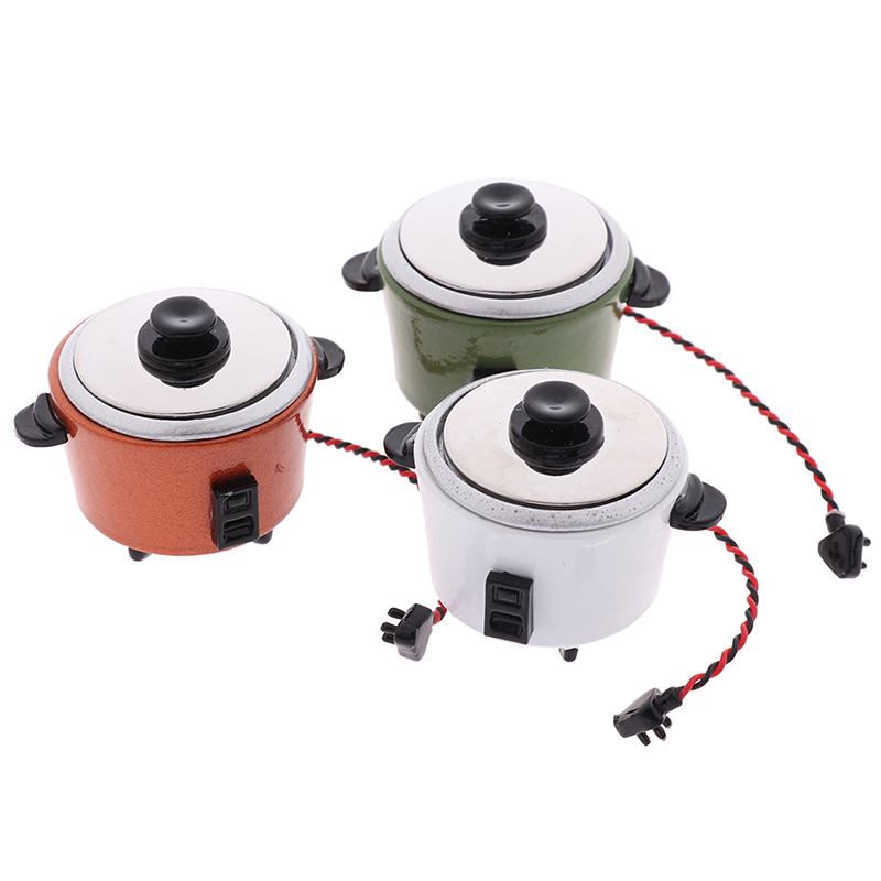1pc New DIY Miniature White Black Rice Cooker Kitchen Accessories Decoration Craft For 1:12 Dollhouse Accessory Kids Toys