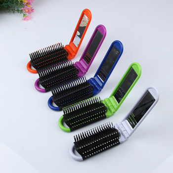 Peigne cheveux Portable de voyage brosse cheveux pliable avec miroir peigne Compact en plastique taille de