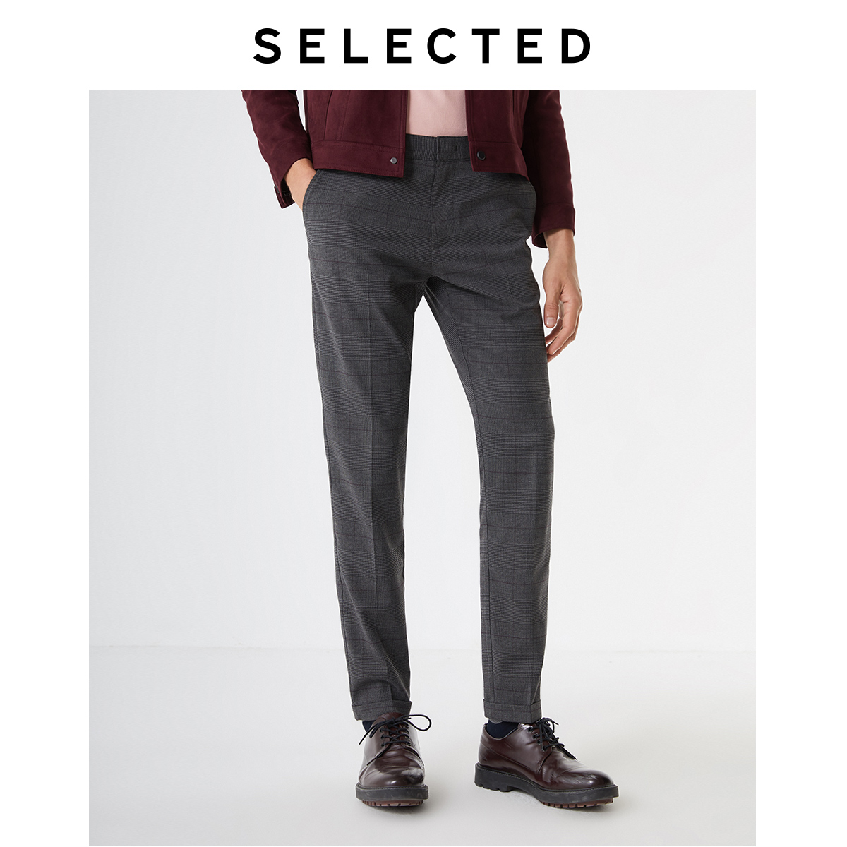 SELECTED Men's Slim Fit Checked Business-casual Pants S|419414522