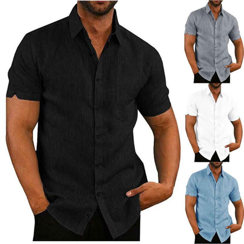 Manga Curta Turn-down Collar Camisas dos homens de luxo Casual Camisa de Linho Solto Blusa Tops Bolso No Peito Design Preto branco Azul Cinza