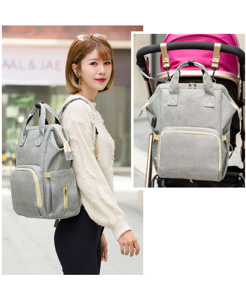 H3dc61d08139a45e18e4706996ae832b73 Fashion Mummy Maternity Nappy Bag Waterproof Diaper Bag With USB Stroller Travel Backpack Multi-pocket Nursing Bag for Baby Care