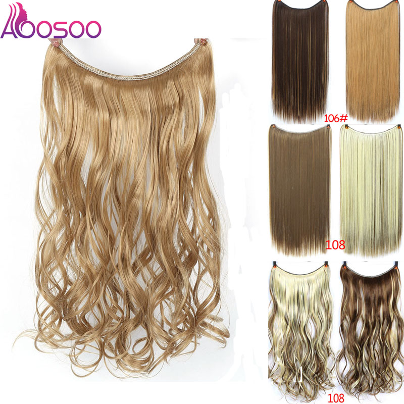 AOOSOO 24 Inch Invisible Wire No Clip One Piece Halo Hair Extensions Secret Fish Line Hairpieces Wave Straight Synthetic