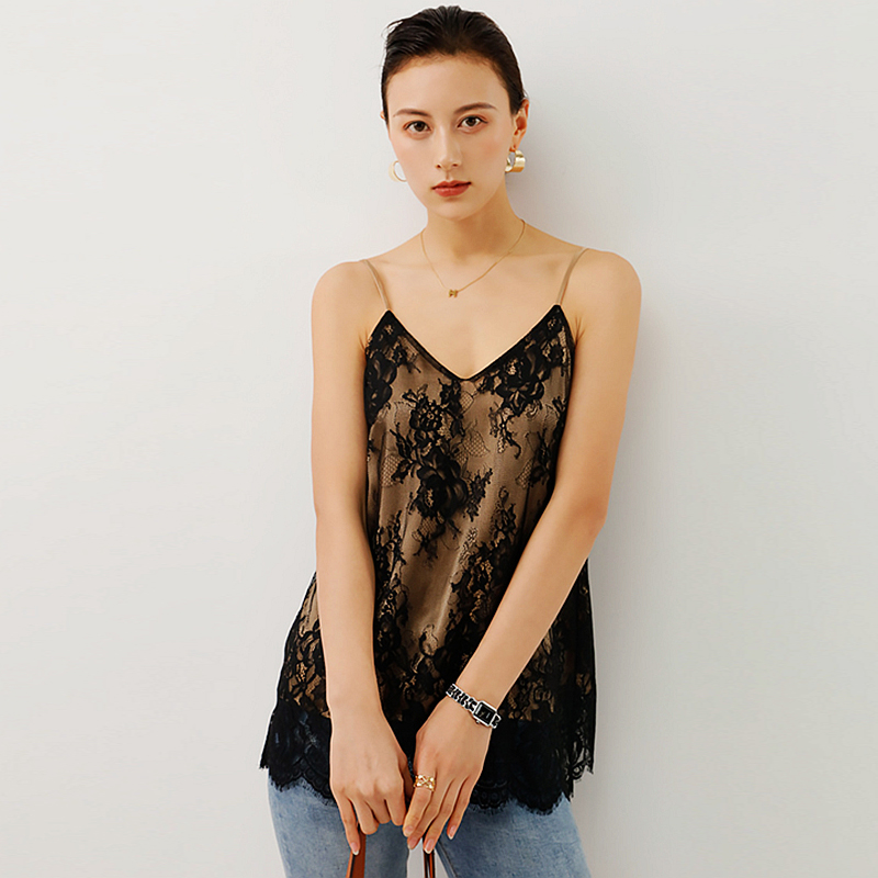 100% Silk Tank Top Women Casual Style Lace Silk V Neck Sleeveless 2 Colors Sexy Loose Basic Clothing New Fashion