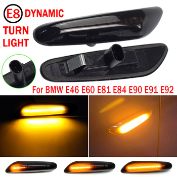 2Pcs LED Dynamic Side Marker Turn Signal Lights For BMW E90 E91 E92 E60 E81 E82 E46 Sequential Blinker Car Door Streamer Lamps image