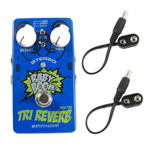 Biyang RV-10 Guitar Effects Pedal 3 Mode Tri Reverb Reverb Stereo True Bypass Accessories with 2Pcs Battery Clip Converter Cable mooer spark reverb pedal three great sounding reverb modes guitar pedal