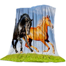 Grassland Horse Sky Bedspread Blankets Coverlet Flannel Blanket Travel Throw Improve Sleep Minky Fleece Anti-Static Breathable(China)