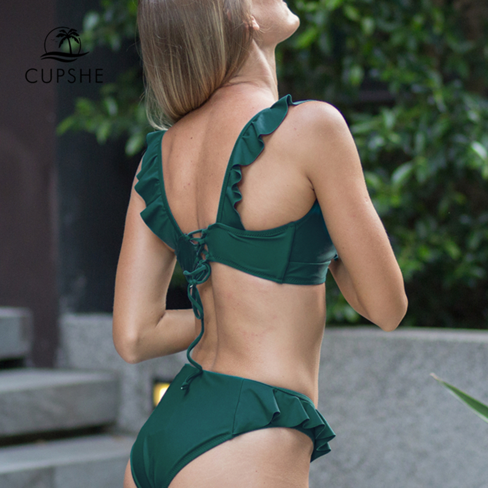 CUPSHE Solid Green Ruffled Bikini Sets Women Lace-up Cute Two Pieces Swimsuits 2019 Girl Beach Bathing Suits Swimwear