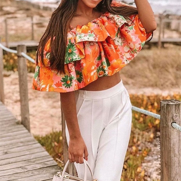 Vintage Chic Women Floral Print Spaghetti Strap Camis Short 2019 New Casual Slash Neck Cascading Ruffle Sexy Crop   Top