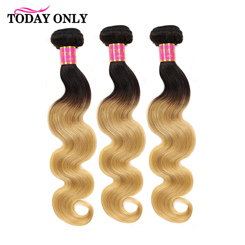 TODAY ONLY 1/3/ 4 Blonde Bundles Body Wave Bundles Brazilian Hair Weave Bundles Ombre Human Hair Bundles 2 Tone 1b 27 Remy Hair