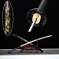 Bamboo Tsuba Japanese real battle swords samurai Katana handmade blade hand curving bamboo wooden sheath decorative collection