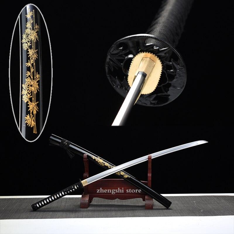 Bamboo Tsuba Japanese Real Battle Swords Samurai Katana Handmade Blade Hand-curving Bamboo Wooden Sheath Decorative Collection