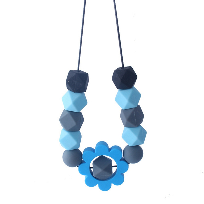 BPA Free Silicone Beads Teether Necklace Baby Teething Toys Infant Babes Nursing Breastfeeding Flower Chewable Necklace Toy