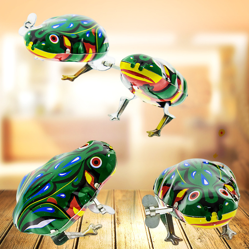 Hot Selling 80 Nostalgic Wind-up Toy Winding Algam Frog CHILDREN'S Toy Stall Leap Frog