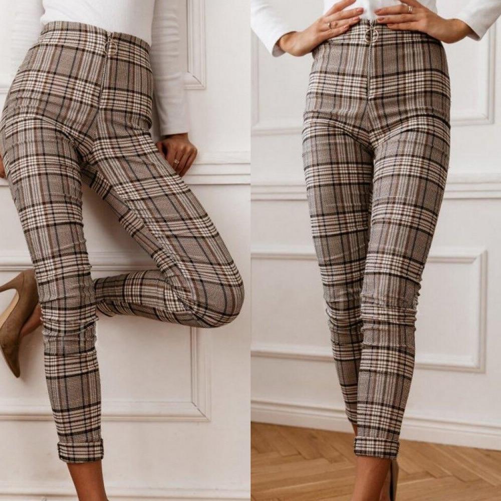 High Waist Plaid Pants Women Skinny Trousers Vintage Long Pants Elegant Slim OL Trousers Zipper Checkered Pencil Pants Pantalon