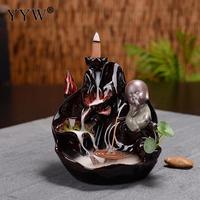Porcelain Backflow Incense Burner Buddhism Incense Holder +10pcs Cones Incense Cone Sticks Holder Ceramics Ornaments Home Decor