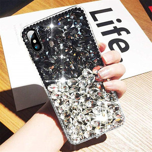 Image 3 - Cassa del telefono di Bling del Diamante di Cristallo Strass 3D Pietre Colorate Della Copertura Posteriore per il iphone 11 12 mini Pro Max XR X 7 8 più di 6 6s Plus
