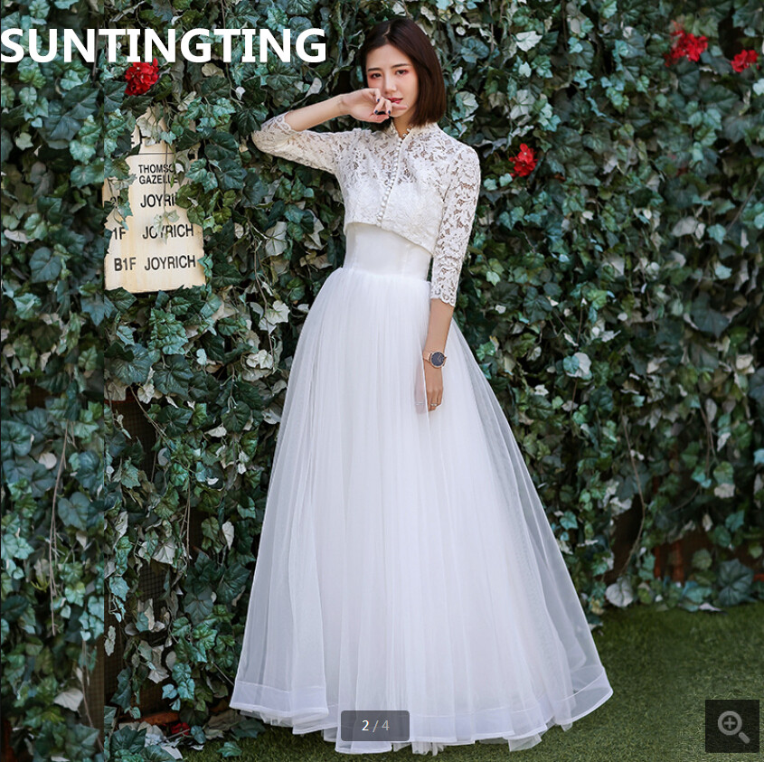 2020 new arrival white lace modest wedding dress strapless with jackets 2 piece summer beach wedding gowns cheap bride dresses