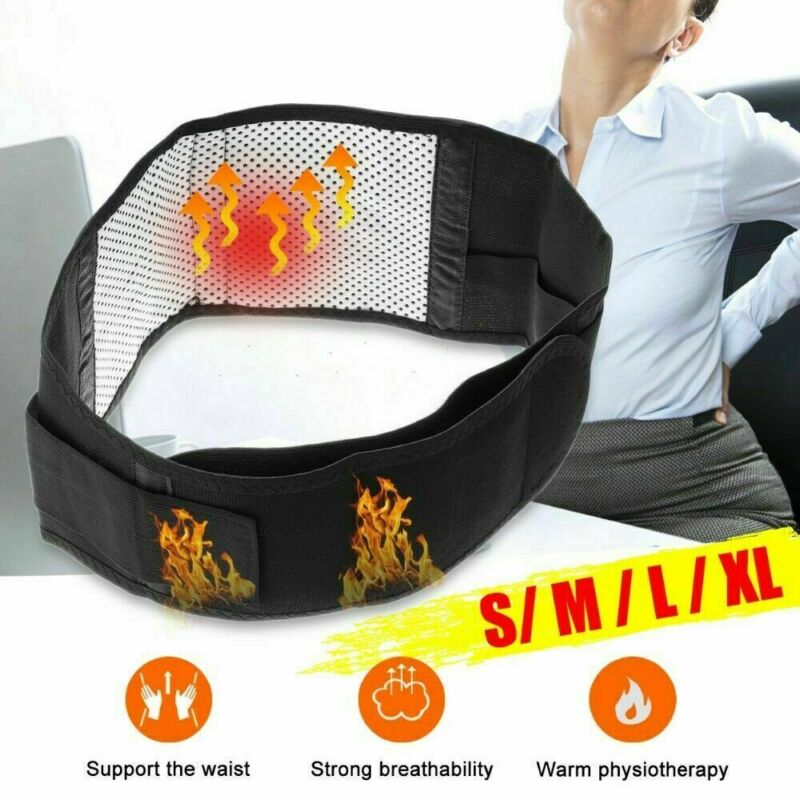 Spontaneous Thermal Belt Magnetic Back Support Brace Belt Lumbar Lower Waist Double Adjust Pain Relief $