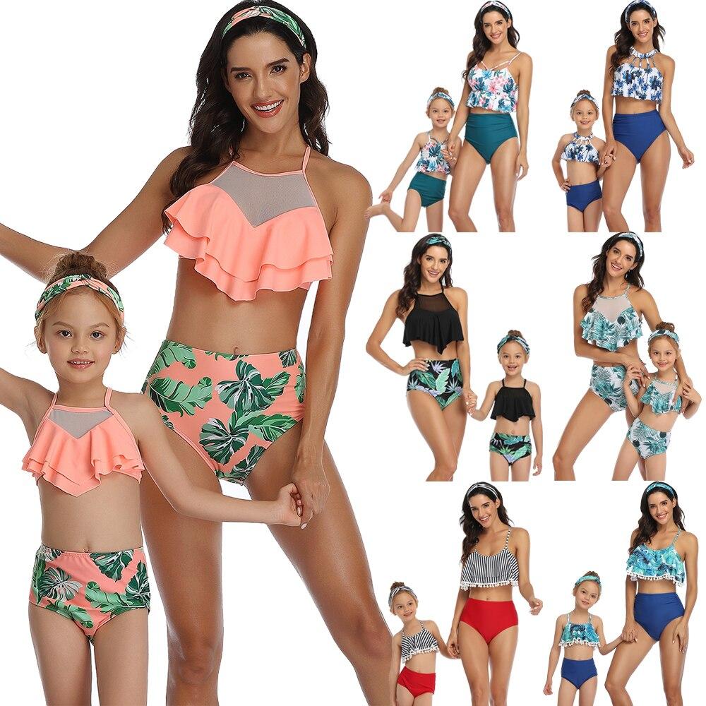 Women Girl High Waist Bikini Swimwear Swimuit Female Retro Beachewear Bikini Set