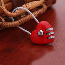 200pcs Lovely Heart Shape Resettable Combination Padlock Metal Luggage Suitcase Bag Diary 3 Digits Lock Cabinet Safe(China)