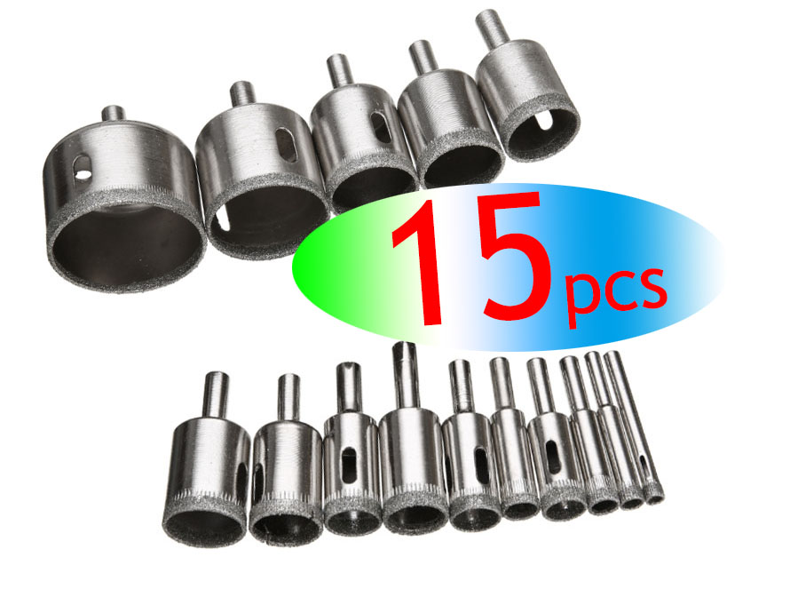 Wholesales 8/10/11/15pcs Diamond Coated Drill Bit Set Tile Marble Glass Ceramic Hole Saw Drilling Bits For Power Tools 6mm-50m