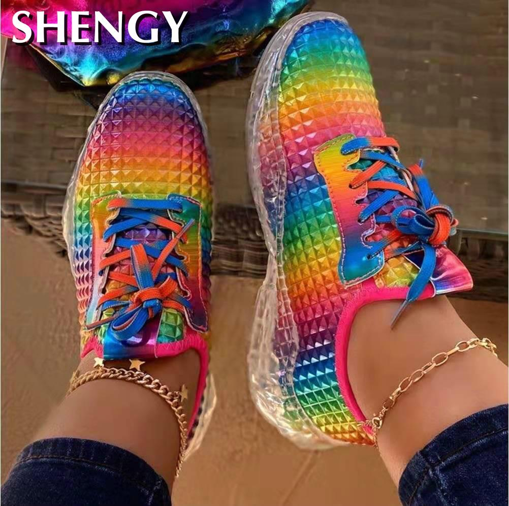 2020 Women Shoes Rainbow Colors Sneaker Women Vulcanize Shoes Breathable Confort Casual Ladies Shoes Tenis Feminino