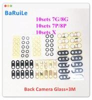 BaRuiLe 30sets Zurück Kamera Glas Objektiv für iphone 7 8 Plus Hinten Cam Abdeckung Ring 3M Aufkleber Adhesive für iphone X Ersatz Teile