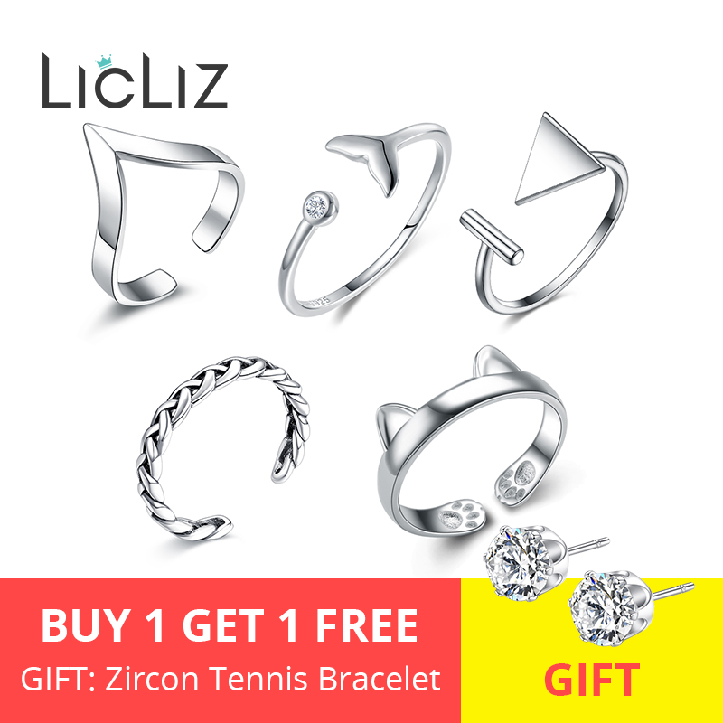 LicLiz 2019 New 925 Sterling Silver V Chevron Adjustable Open Ring For Women Geometric Braided Cat Ring Jewelry Bijoux LR0313