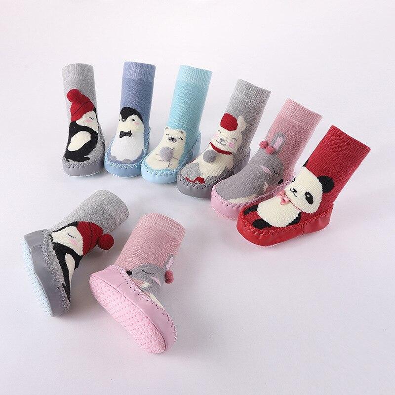 Raposa aninal panda bebê deslizamento-resistente falso piso de couro meias de caminhada criança infantil meninos meninas inverno mais quente unisex para crianças