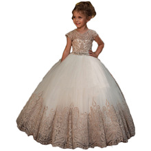 cheap Shining beaded ball gown cupcake toddler little girls pageant dresses flower girls for weddi 2018 pink flower girls dresses spaghetti straps ball gown ruffles organza pageant dress for girls long girl dresses for wedding