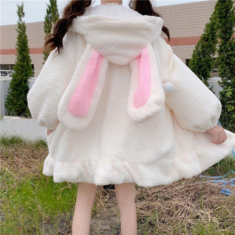 Cute Bunny Ears Faux Fur Teddy Coat Women Winter Lolita Kawaii Plush Hooded Jacket Female Warm White Fluffy Overcoat Outerwear