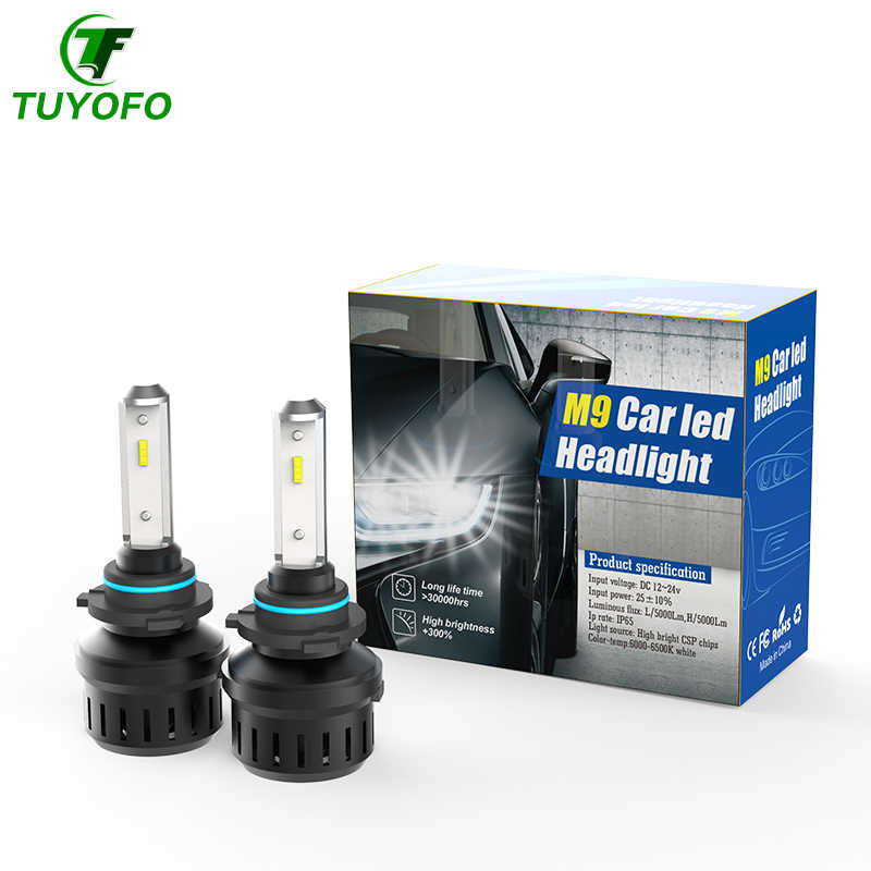 TUYOFO M9 H7 Led H4 With Lumileds Luxeon ZES Chips Car Headlight Bulbs H1 LED H11 H8 HB3 9005 HB4 Lamp 6500K 12V 12000LM