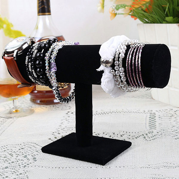 New Hot Portable Velvet Bracelet Bangle Necklace Chain Watch T-Bar Organizer Rack Jewelry Display Stand Holder YAA99