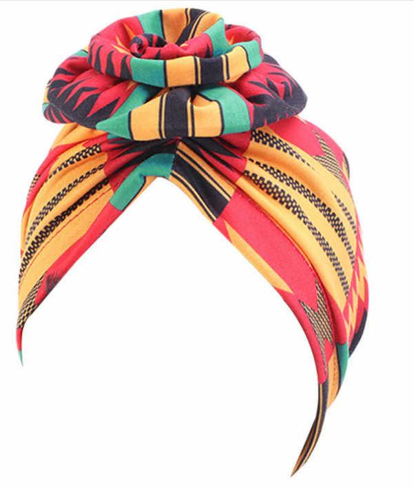 Pastoral çiçek baskı türban kadınlar ulusal rüzgar müslüman şapka Bandana kemoterapi şapka uyku kapaklar kasketleri Headwrap moda rahat