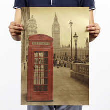 Retro Vintage Photo London red buses and telephone Elizabeth Tower Poster Kraft cafe bar cinema decoration