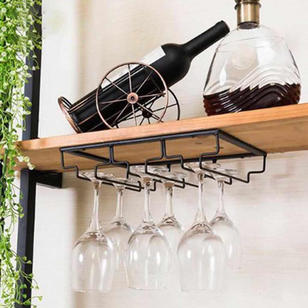 Gelas Anggur Pemegang Bartender Bertangkai Rak Gantung Di Bawah Kabinet Stemware Organizer Kaca Piala Rak Besi