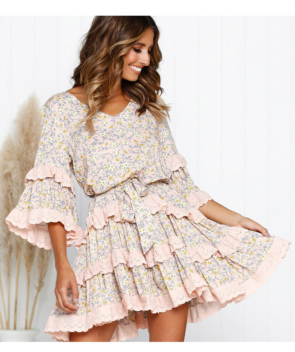 Vintage Floral Pleated V neck Mid Sleeve Short Mini Ruffles Dress 5