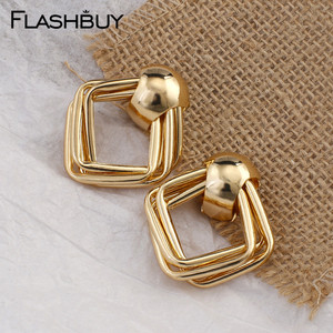Flashbuy Trendy Gold Square Alloy Earrings For Women Unique Statement Geometric Earrings Party Jewelry Wedding Accessories 2020