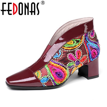 FEDONAS  Retro Genuine Leather Pumps Women Autumn Winter Warm Ethnic Flowers Embroider High Heels Casual Shoes Woman Square Toe