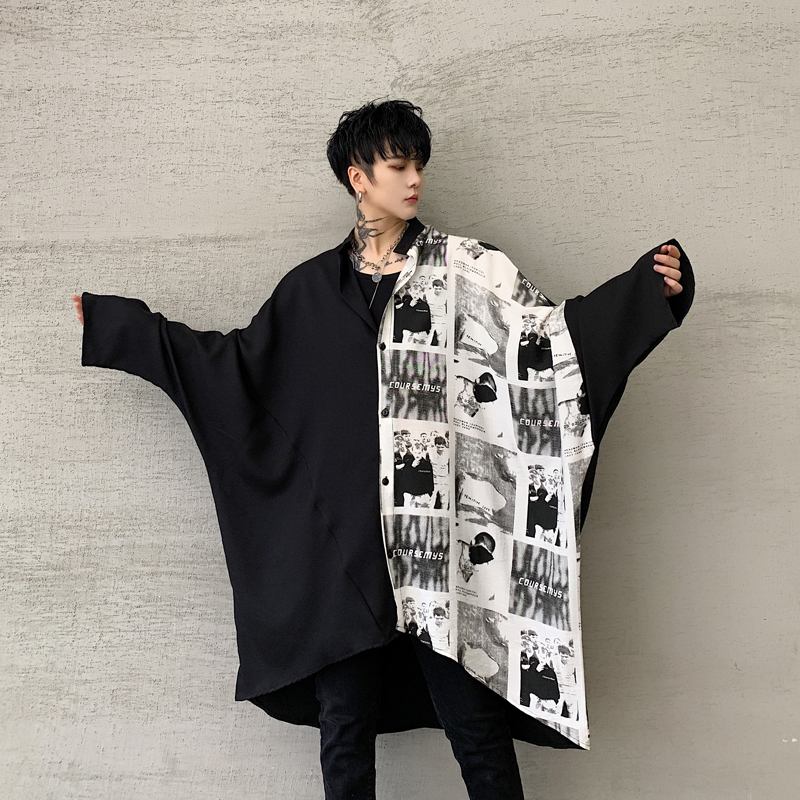 Men Oversize Long Sleeve Splice Print Shirt Male Women Vintage Streetwear Hip Hop Loose Casual Gothic Dress Shirt Stage Costumes