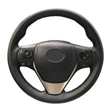 מלאכותי עור רכב הגה צמת עבור טויוטה RAV4 2013 2016 טויוטה קורולה 2014 2016 Scion/תפור לפי מידה הגה כיסוי