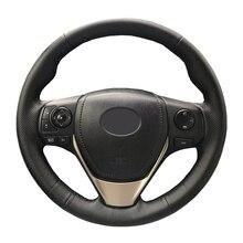 الجلود الاصطناعية عجلة توجيه سيارة جديلة لتويوتا RAV4 2013 2016 تويوتا كورولا 2014 2016 سليل/مخصص غطاء التوجيه