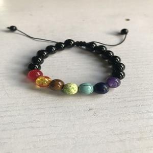 Image 3 - OAIITE Trendy 7 Chakra Round Beaded Natural Stone Bracelet  For Women Men Healing Balance Therapy Yoga Jewelry Prayer Adjustable