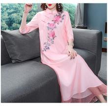Женское платье Ципао с цветочной вышивкой весеннее большого