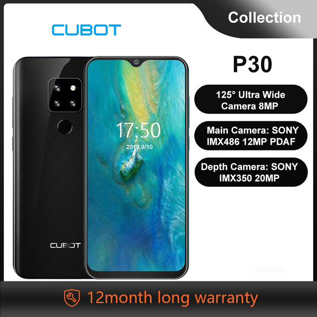 """Cubot P30 6.3"""" Waterdrop Screen 2340x1080p Cellphone Helio P23 4GB+64GB Android 9.0 Pie AI Rear Triple Cameras Face ID 4000mAh"""