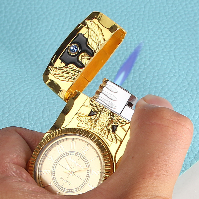 Novelty Gag Toys No Gas Home Metal Inflatable Watch Lighter Straight-punch Watch Cigarette Lighter Refillable Butane Smoking