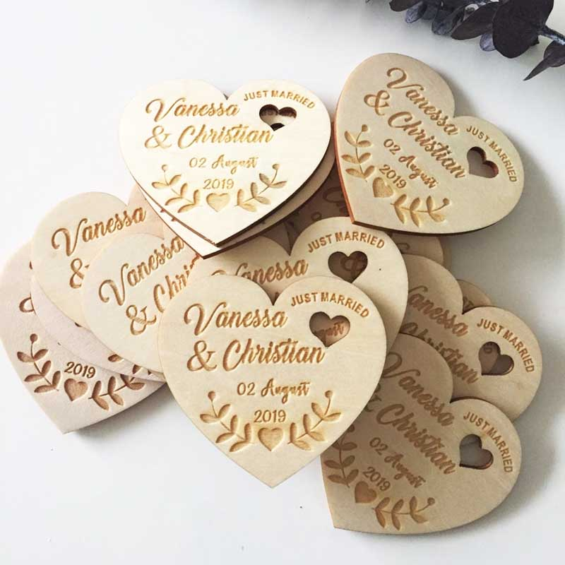 Personalized Wedding Laser Heart Save the Date Magnets Custom wood rustic save the date party favors