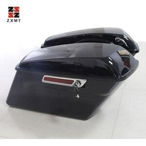 ZXMT нарисованные жесткие седельные сумки, яркие черные растягивающиеся удлиненные седельные сумки, подходящие для моделей Harley-Davidson Touring ...