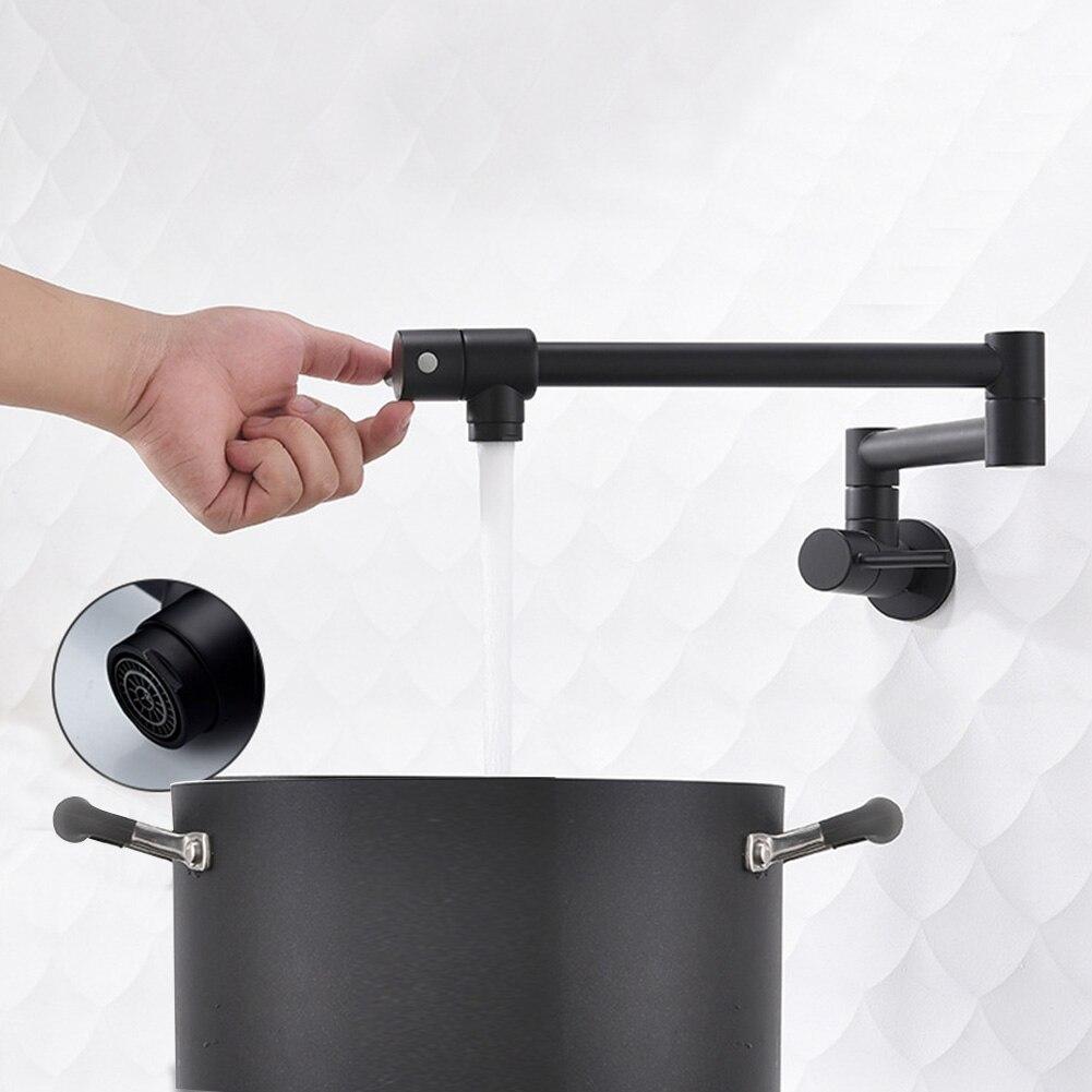 Robinet de cuisine mural Durable évier poli robinets Double interrupteur pliant 360 degrés maison rotative en laiton eau froide
