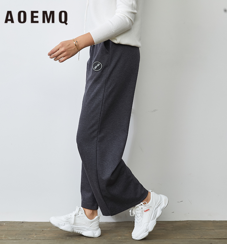 AOEMQ Fashion   Pants   Loose Plus Size Casual Sport   Wide     Leg     Pants   High Waist Elastic Adjustable Harm   Pants   Couple Women Clothing